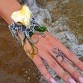 Duża bransoleta srebrna z bursztynem, ośmiornica - silverum.com.pl #rękodzieło , #producent #sklep, #internetowy, #biżuteria, #unikatowa, #bursztyn #naturalny #bałtycki #biżuteria #artystyczna #bransoleta #ośmiornica #prezent #srebro #upominek