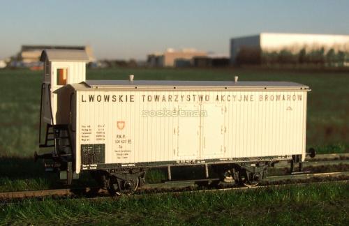 Wagon nr 531 427 do transportu piwa Lwowskie Towarzystwo Akcyjne Browarów w zarządzie kolei PKP. Epoka II. #Lwów #piwo #wagon H0